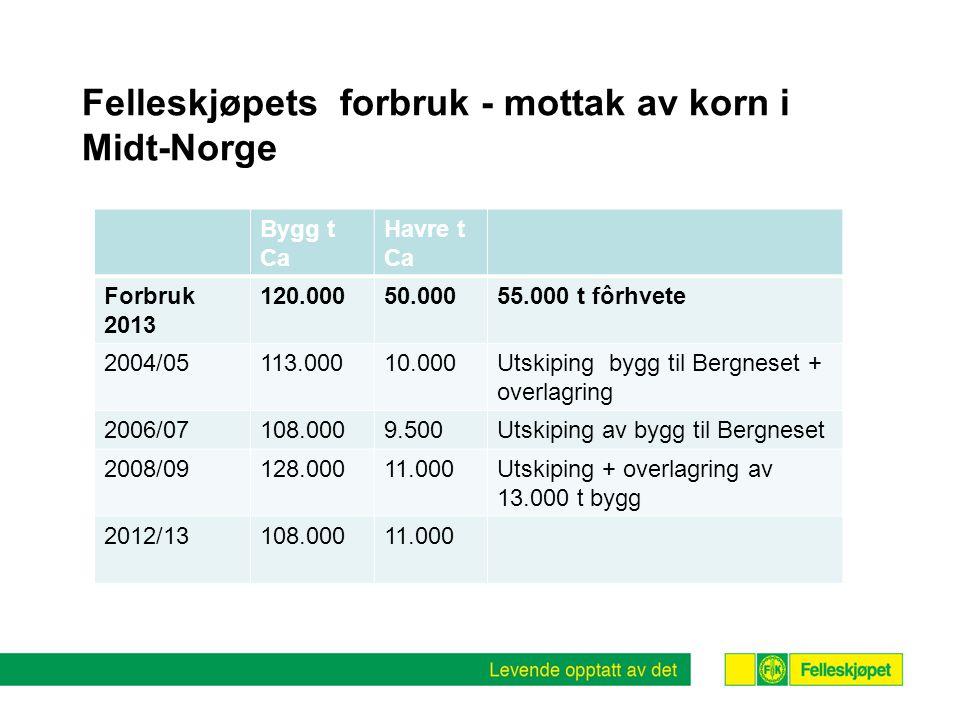 Felleskjøpets forbruk - mottak av korn i Midt-Norge