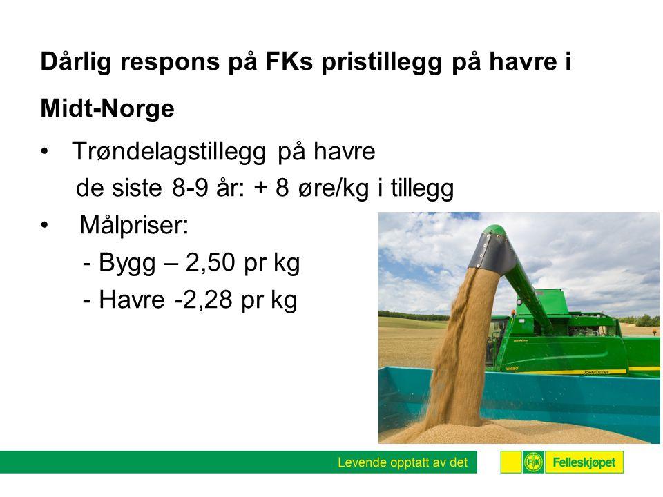 Dårlig respons på FKs pristillegg på havre i Midt-Norge