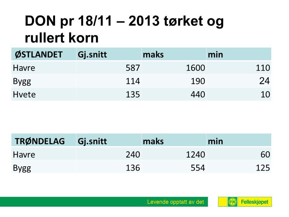 DON pr 18/11 – 2013 tørket og rullert korn