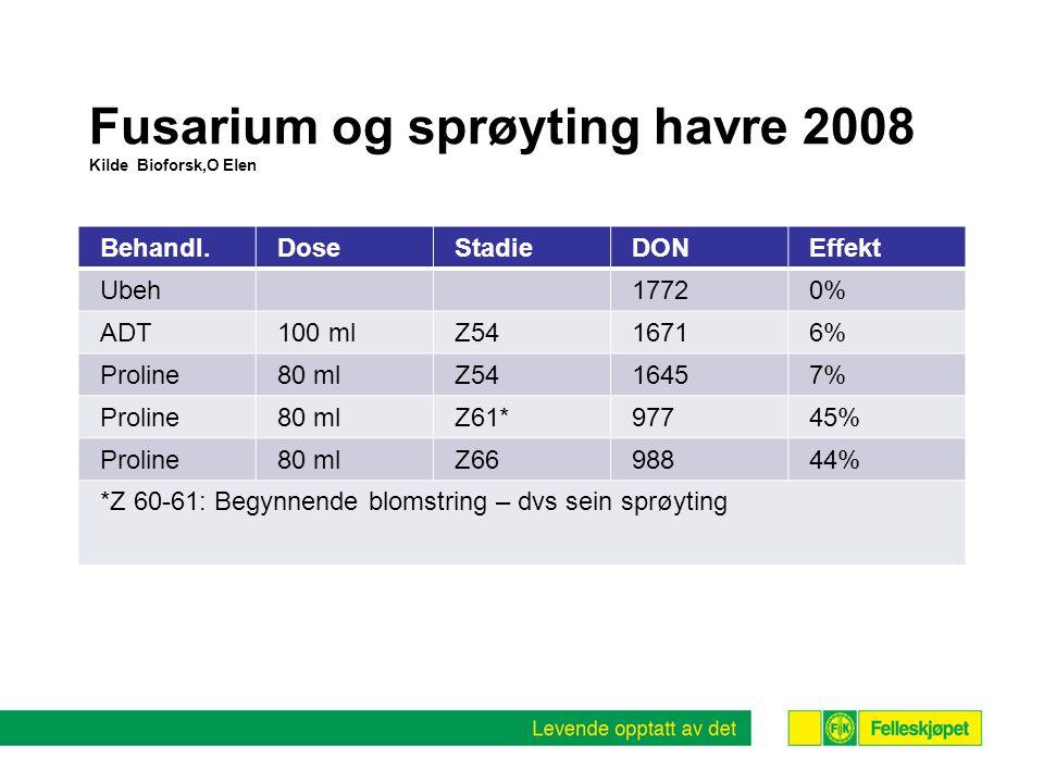 Fusarium og sprøyting havre 2008 Kilde Bioforsk,O Elen