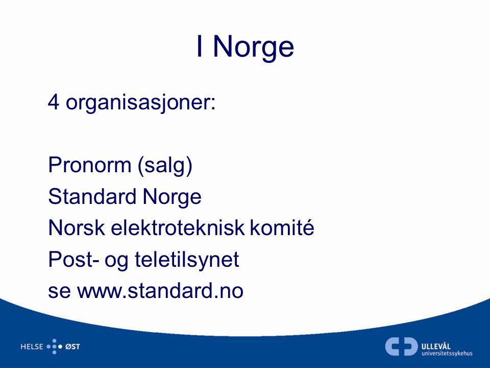 I Norge 4 organisasjoner: Pronorm (salg) Standard Norge