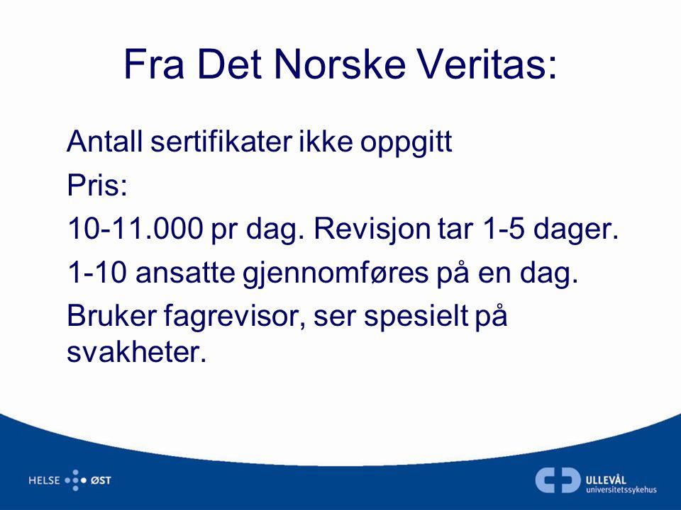 Fra Det Norske Veritas: