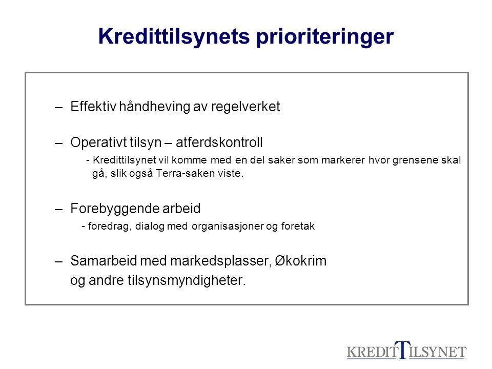 Kredittilsynets prioriteringer