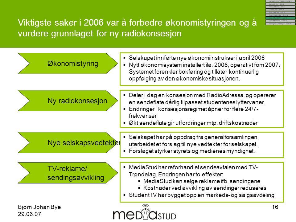 Viktigste saker i 2006 var å forbedre økonomistyringen og å vurdere grunnlaget for ny radiokonsesjon