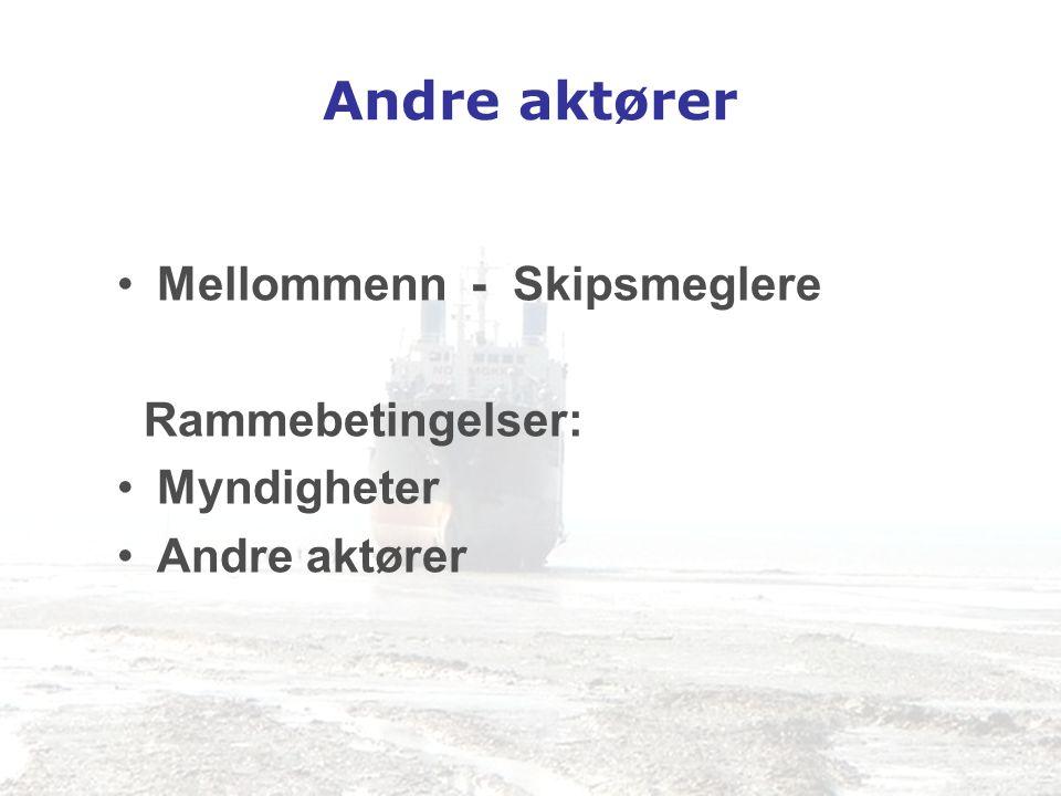 Andre aktører Mellommenn - Skipsmeglere Rammebetingelser: Myndigheter