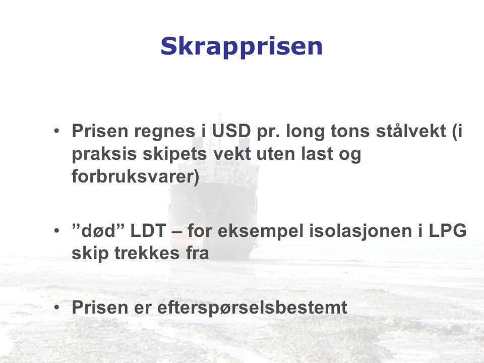 Skrapprisen Prisen regnes i USD pr. long tons stålvekt (i praksis skipets vekt uten last og forbruksvarer)