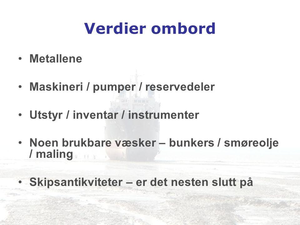 Verdier ombord Metallene Maskineri / pumper / reservedeler