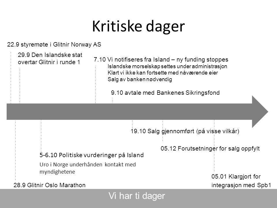 Kritiske dager Vi har ti dager 5-6.10 Politiske vurderinger på Island