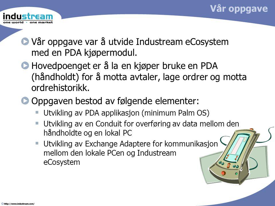 Vår oppgave var å utvide Industream eCosystem med en PDA kjøpermodul.