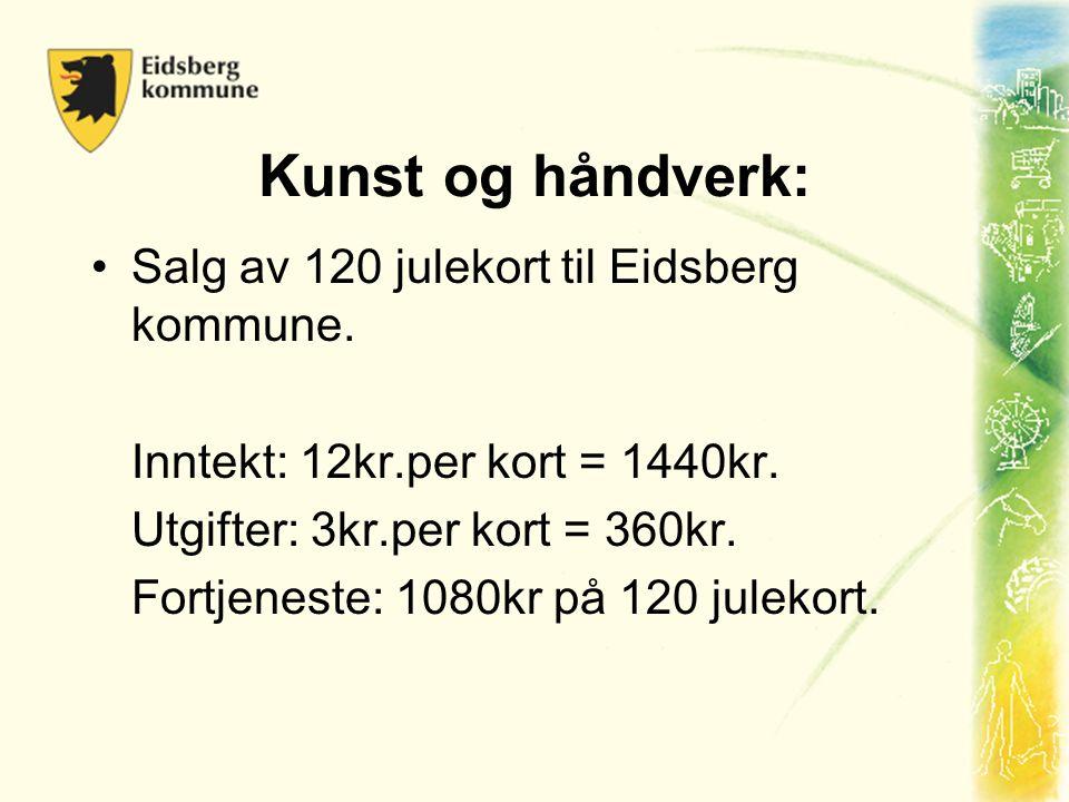 Kunst og håndverk: Salg av 120 julekort til Eidsberg kommune.