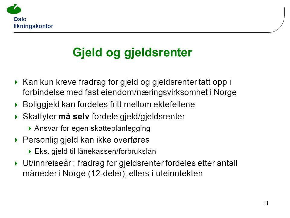 Gjeld og gjeldsrenter Kan kun kreve fradrag for gjeld og gjeldsrenter tatt opp i forbindelse med fast eiendom/næringsvirksomhet i Norge.