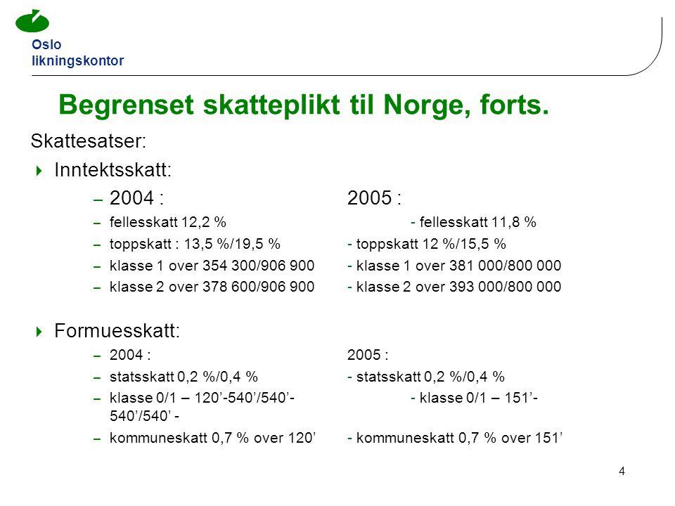 Begrenset skatteplikt til Norge, forts.