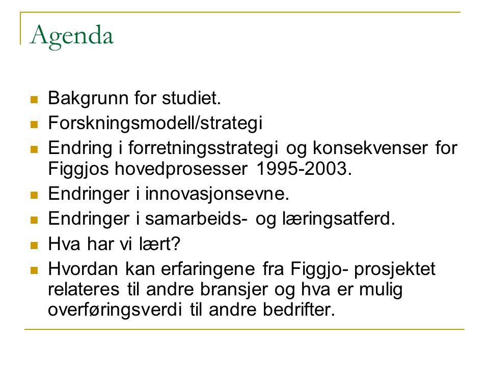 Agenda Bakgrunn for studiet. Forskningsmodell/strategi