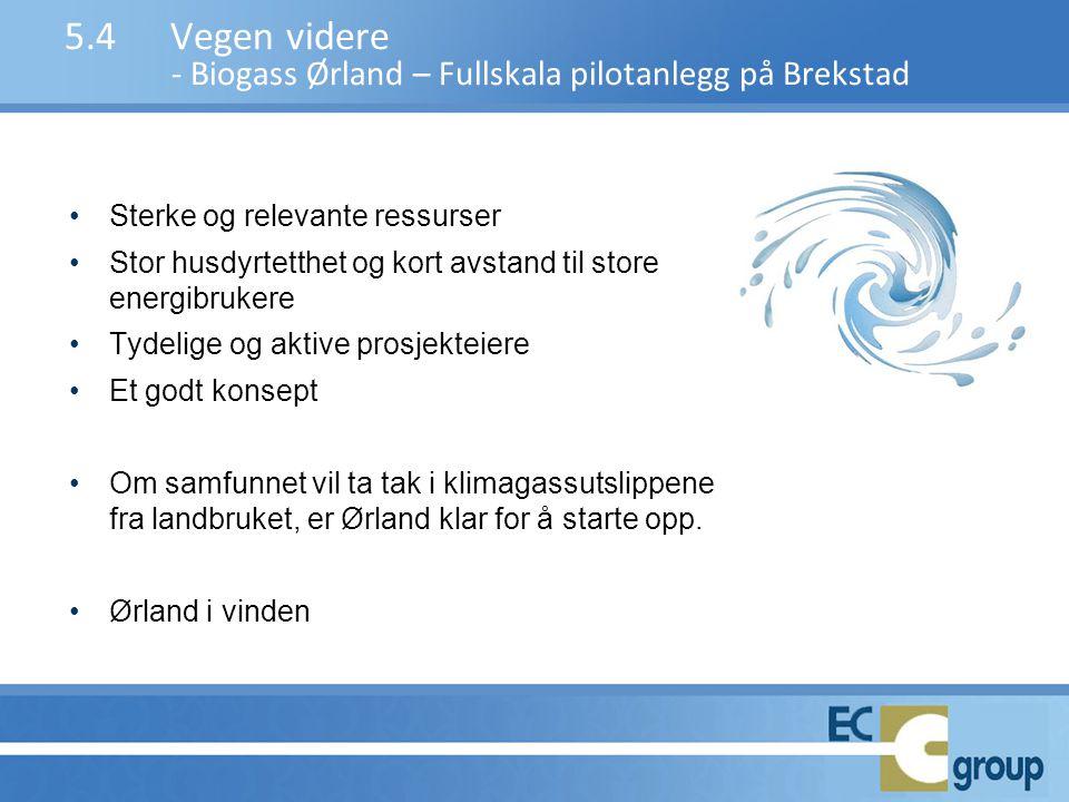 5.4 Vegen videre - Biogass Ørland – Fullskala pilotanlegg på Brekstad