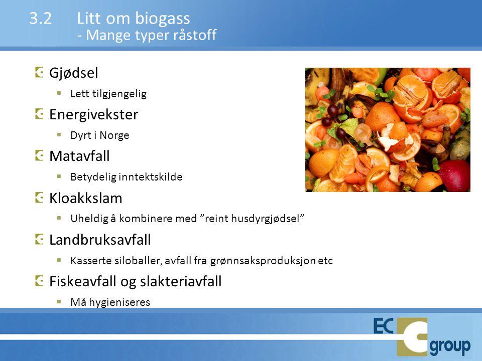 3.2 Litt om biogass - Mange typer råstoff