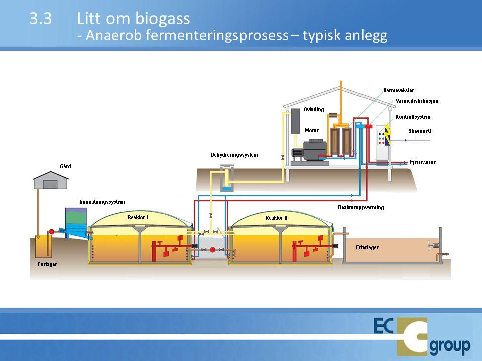 3.3 Litt om biogass - Anaerob fermenteringsprosess – typisk anlegg