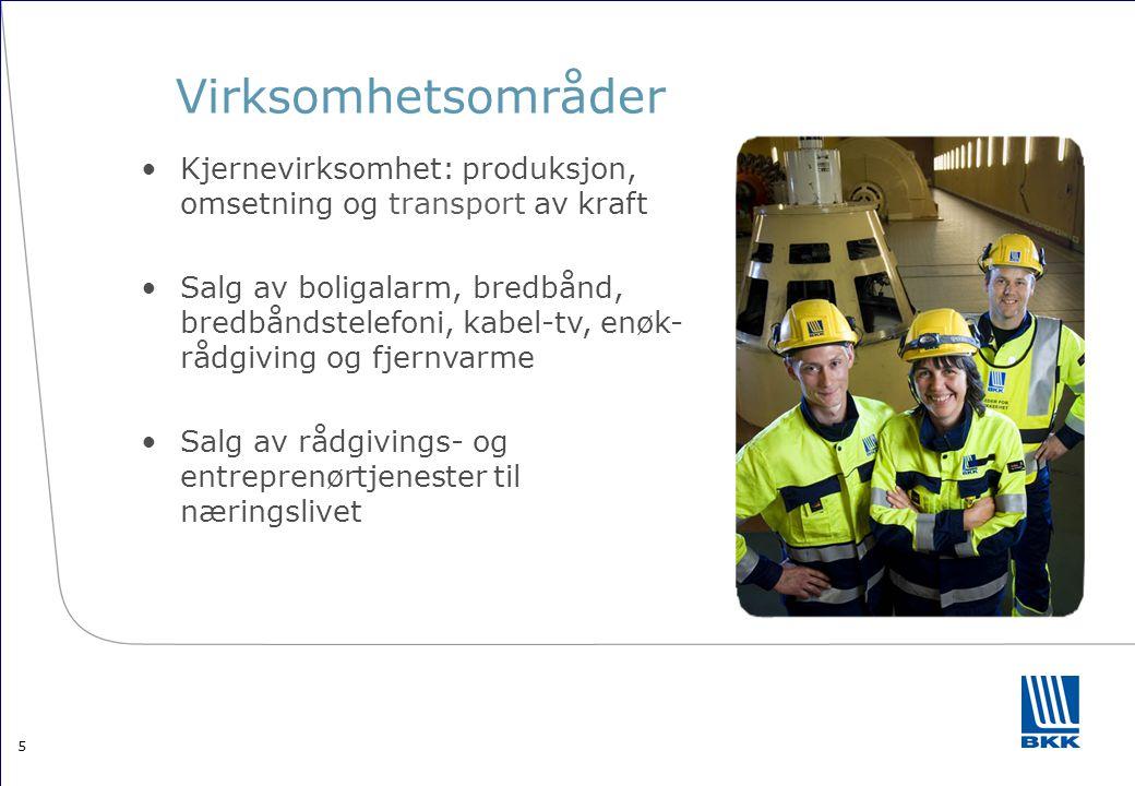 Virksomhetsområder Kjernevirksomhet: produksjon, omsetning og transport av kraft.