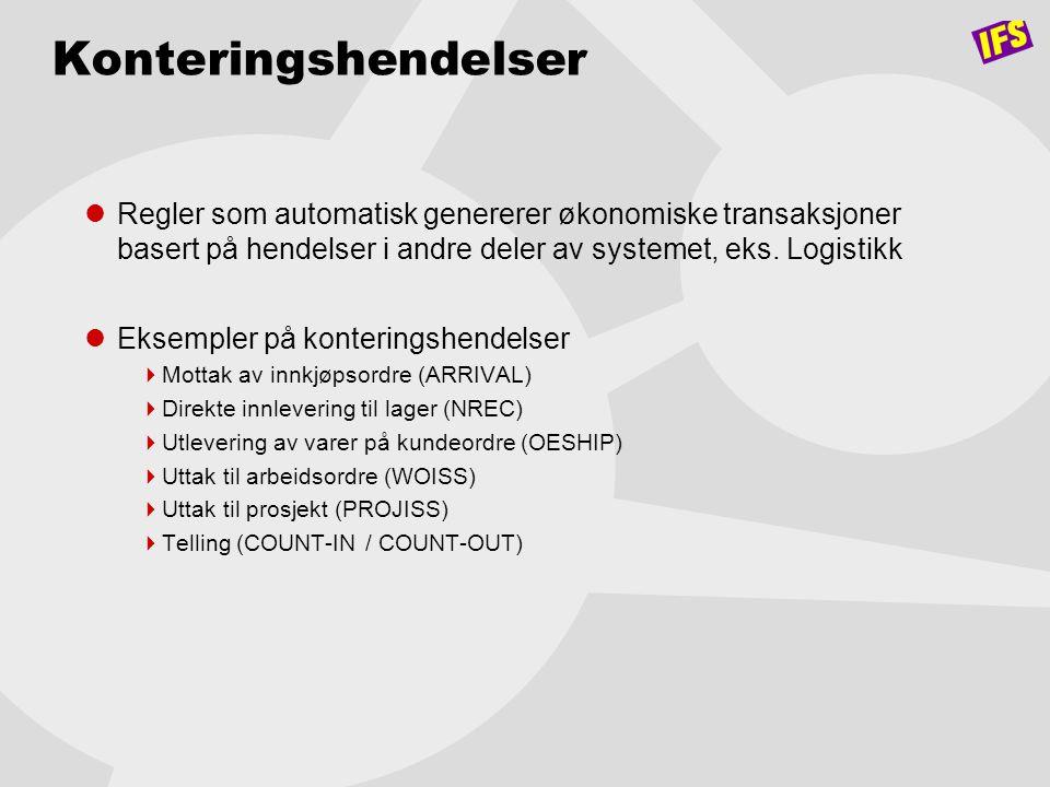 Konteringshendelser Regler som automatisk genererer økonomiske transaksjoner basert på hendelser i andre deler av systemet, eks. Logistikk.