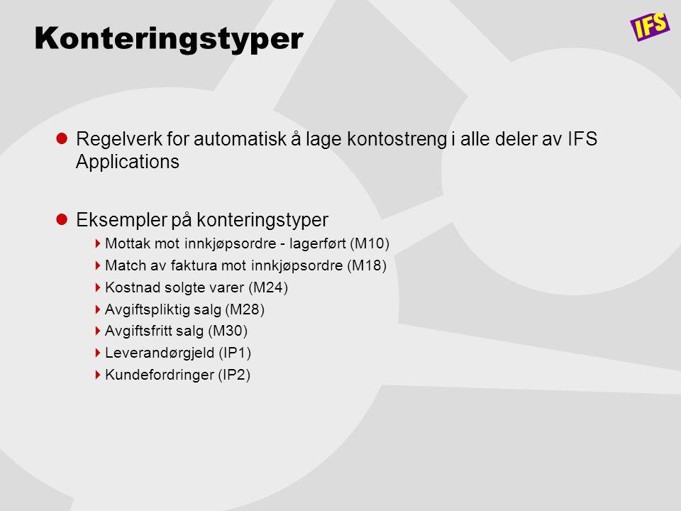 Konteringstyper Regelverk for automatisk å lage kontostreng i alle deler av IFS Applications. Eksempler på konteringstyper.