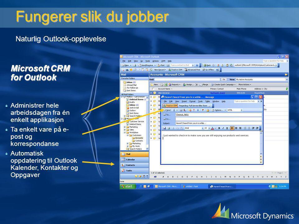 Fungerer slik du jobber Naturlig Outlook-opplevelse