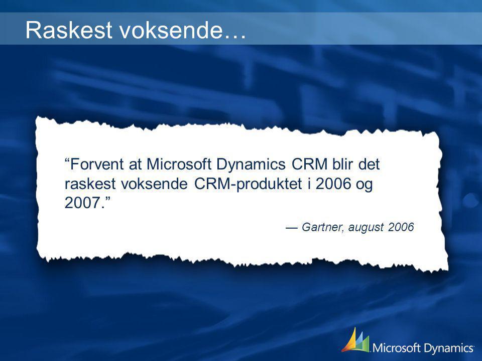 Raskest voksende… Forvent at Microsoft Dynamics CRM blir det raskest voksende CRM-produktet i 2006 og 2007.