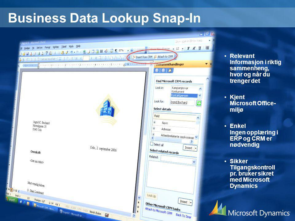 Business Data Lookup Snap-In