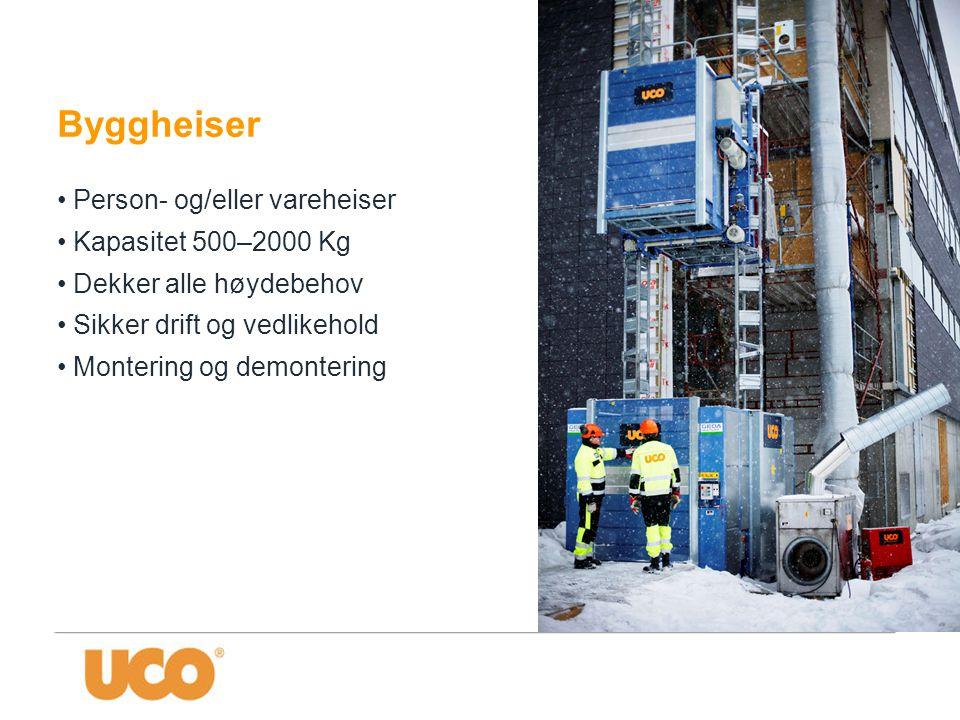 Byggheiser Person- og/eller vareheiser Kapasitet 500–2000 Kg