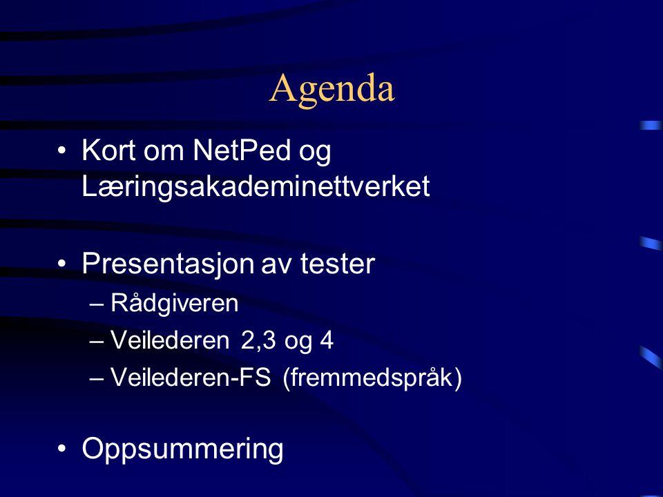 Agenda Kort om NetPed og Læringsakademinettverket