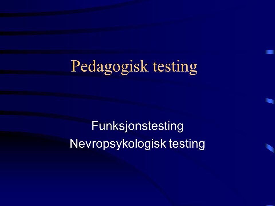 Funksjonstesting Nevropsykologisk testing