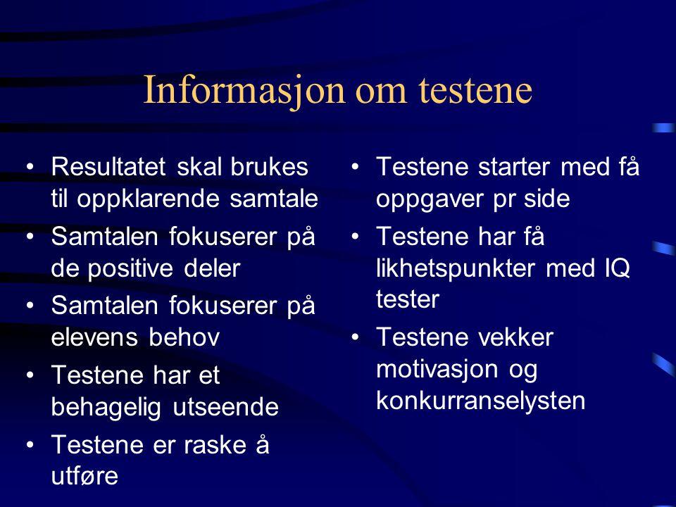 Informasjon om testene