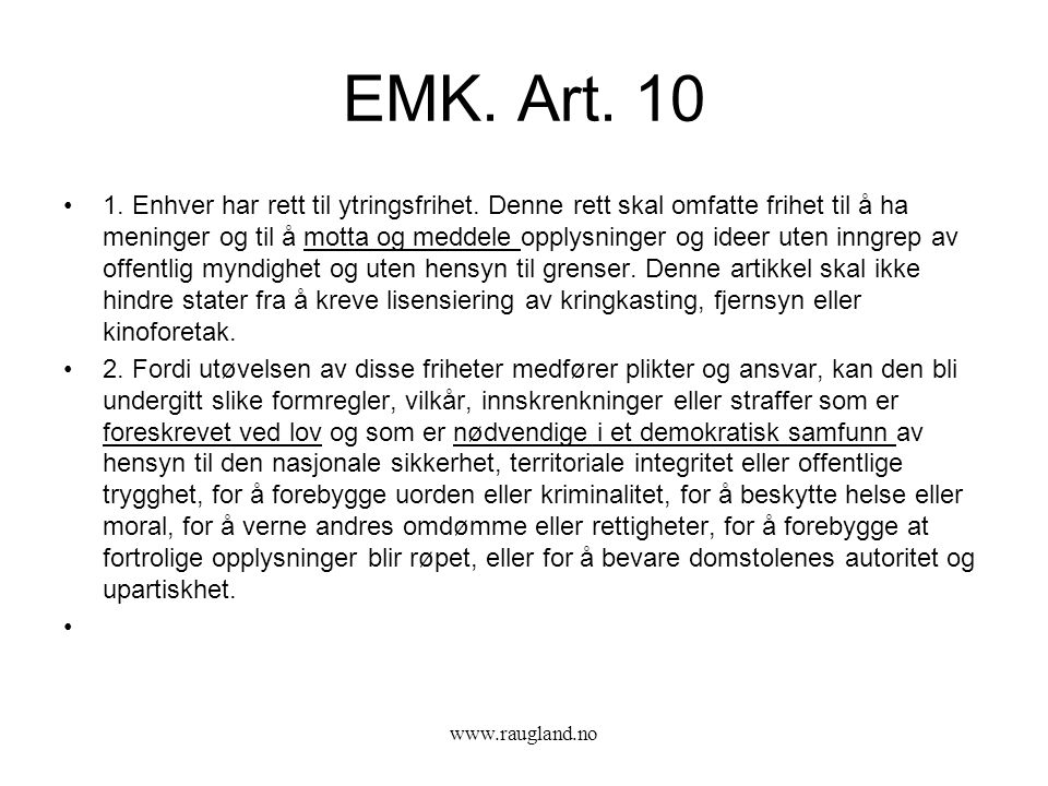 EMK. Art. 10
