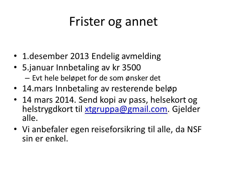Frister og annet 1.desember 2013 Endelig avmelding