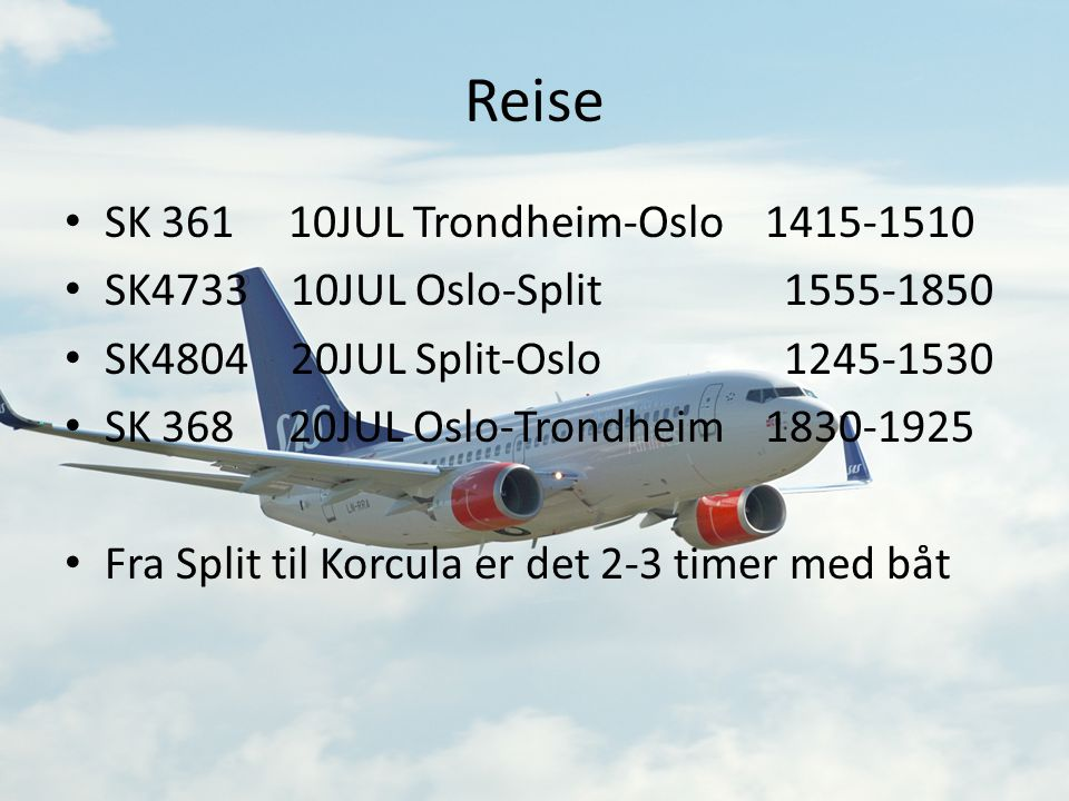 Reise SK 361 10JUL Trondheim-Oslo 1415-1510