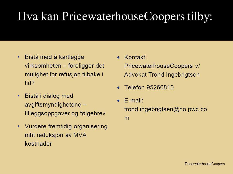 Hva kan PricewaterhouseCoopers tilby: