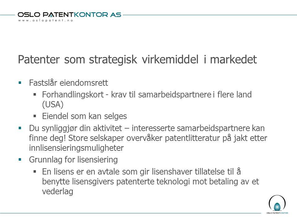 Patenter som strategisk virkemiddel i markedet