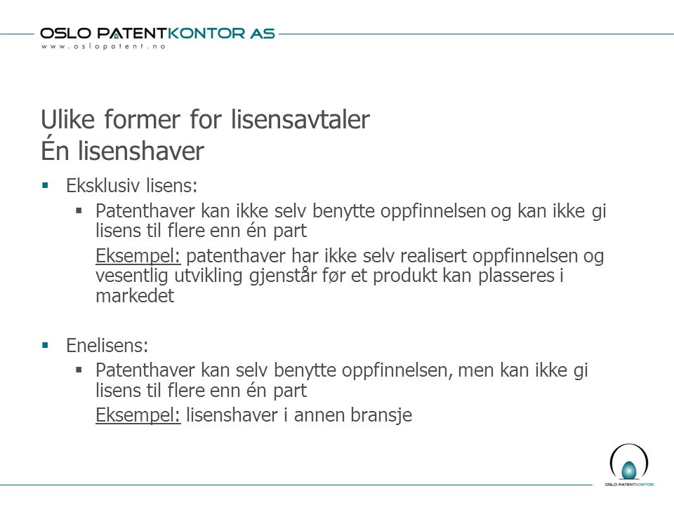 Ulike former for lisensavtaler Én lisenshaver