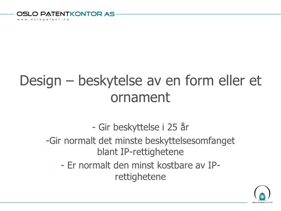 Design – beskytelse av en form eller et ornament