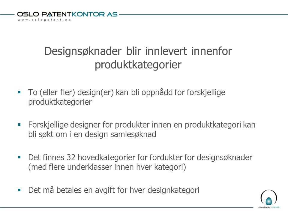 Designsøknader blir innlevert innenfor produktkategorier