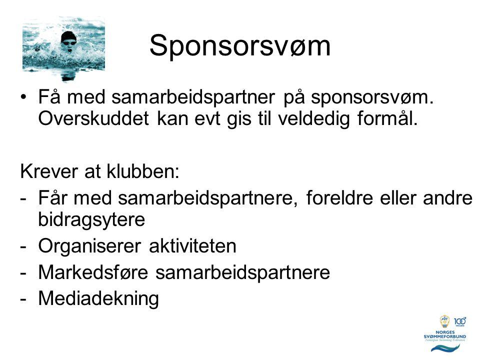 Sponsorsvøm Få med samarbeidspartner på sponsorsvøm. Overskuddet kan evt gis til veldedig formål. Krever at klubben:
