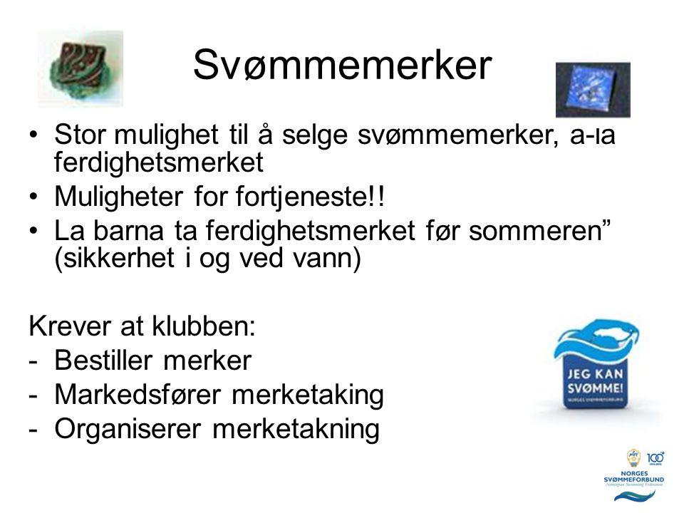 Svømmemerker Stor mulighet til å selge svømmemerker, á-lá ferdighetsmerket. Muligheter for fortjeneste!!