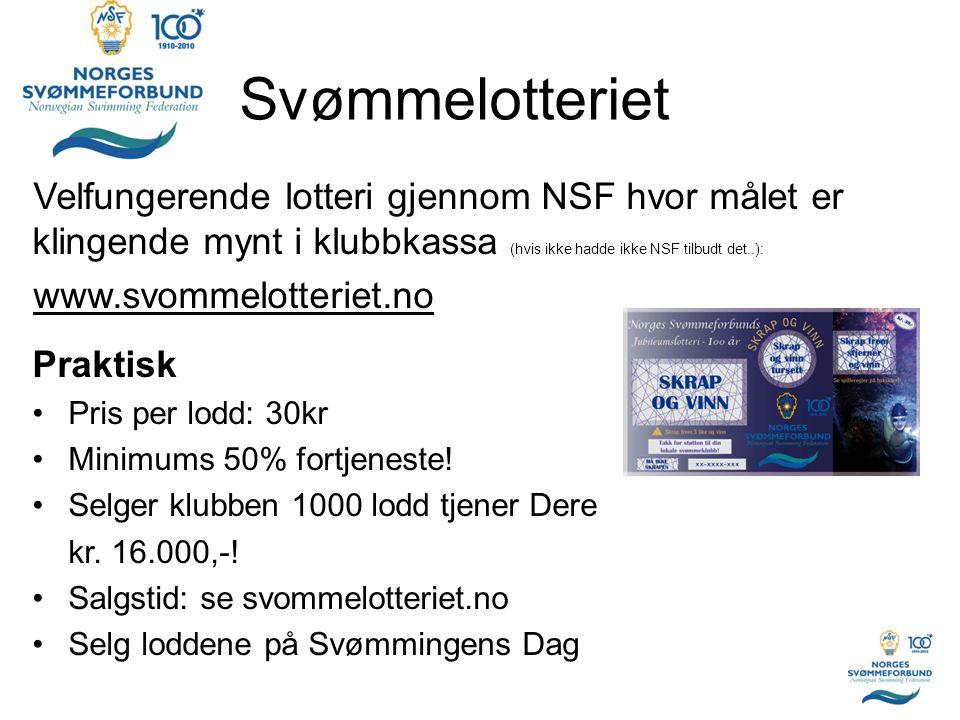 Svømmelotteriet Velfungerende lotteri gjennom NSF hvor målet er klingende mynt i klubbkassa (hvis ikke hadde ikke NSF tilbudt det..):