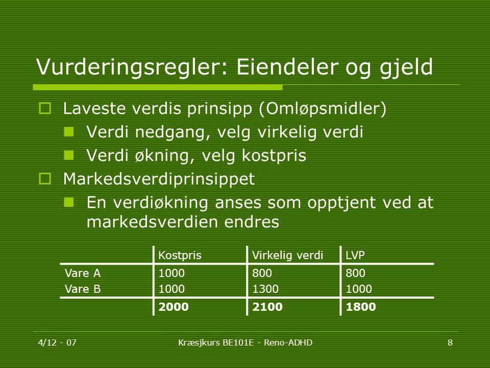 Vurderingsregler: Eiendeler og gjeld
