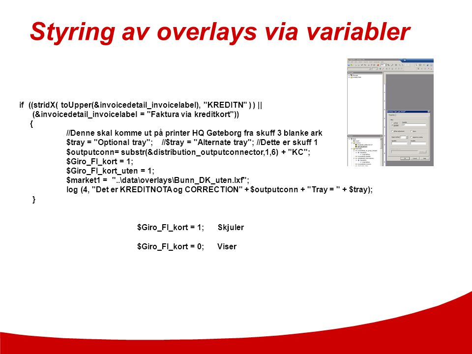 Styring av overlays via variabler