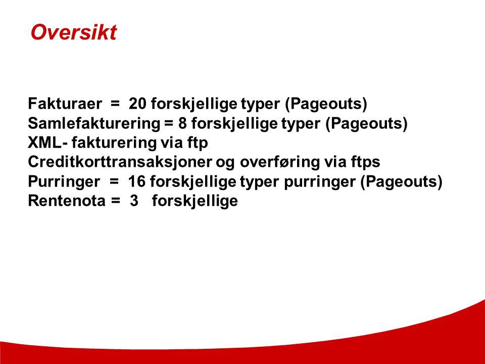 Oversikt Fakturaer = 20 forskjellige typer (Pageouts)