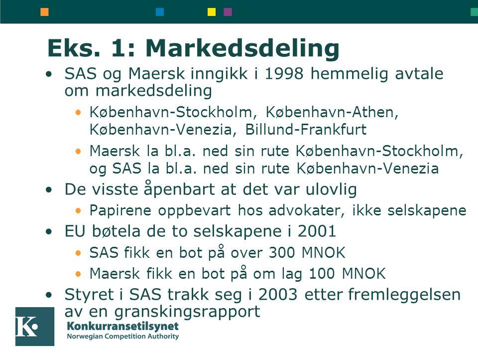 Eks. 1: Markedsdeling SAS og Maersk inngikk i 1998 hemmelig avtale om markedsdeling.