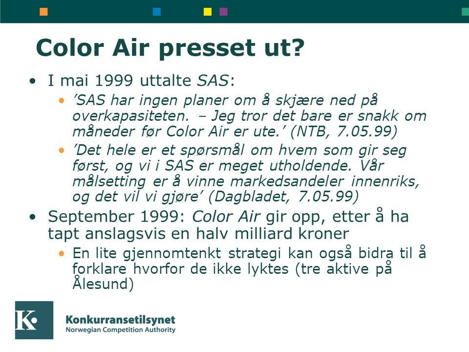 Color Air presset ut I mai 1999 uttalte SAS: