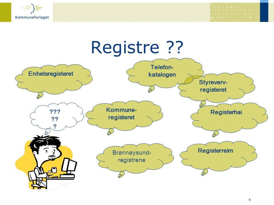 Registre Telefon-katalogen Enhetsregisteret Styreverv- registeret