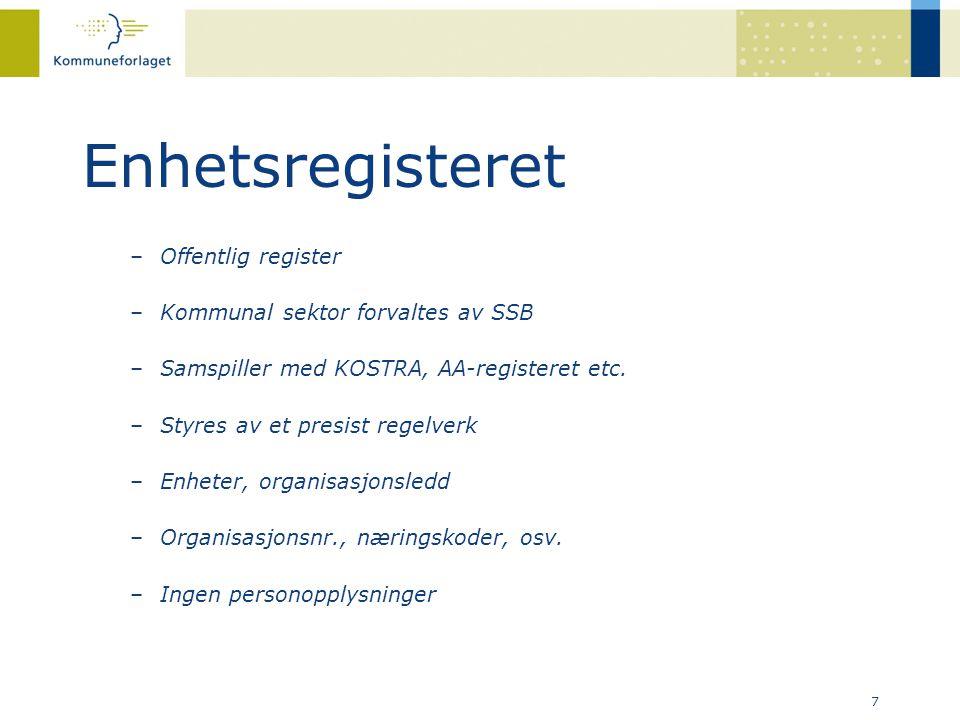 Enhetsregisteret Offentlig register Kommunal sektor forvaltes av SSB