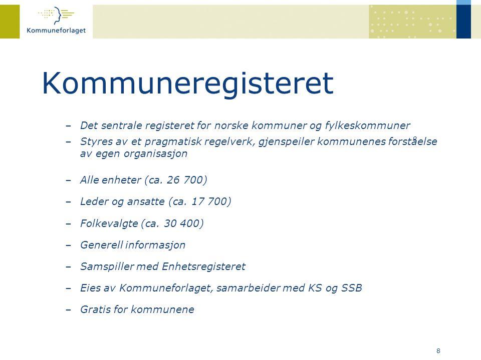 Kommuneregisteret Det sentrale registeret for norske kommuner og fylkeskommuner.