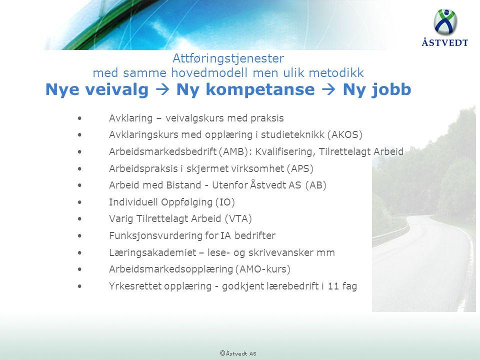 Attføringstjenester med samme hovedmodell men ulik metodikk Nye veivalg  Ny kompetanse  Ny jobb